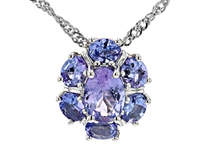 Blue Tanzanite Rhodium Over Sterling Silver Pendant With Chain. 1.51ctw