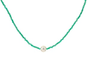 Green Onyx Rhodium Over Sterling Silver Necklace