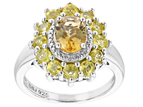 Yellow Citrine Rhodium Over Sterling Silver Ring 2.54ctw
