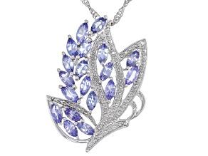 Blue Tanzanite Rhodium Over Silver Pendant With Chain 2.45ctw