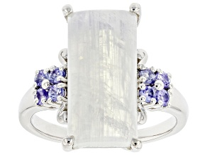 White Rainbow Moonstone Rhodium Over Sterling Silver Ring 0.32ctw