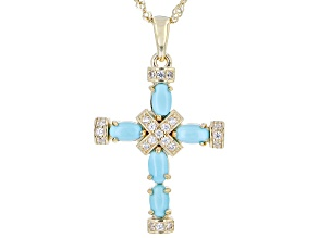 Sleeping Beauty Turquoise 18k Gold Over Sterling Silver Cross Pendant With Chain .18ctw