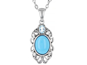 Blue Sleeping Beauty Turquoise Rhodium Over Sterling Silver Pendant With Chain .19ct