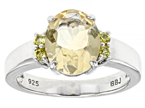 Yellow Citrine Rhodium Over Sterling Silver Ring. 2.12ctw