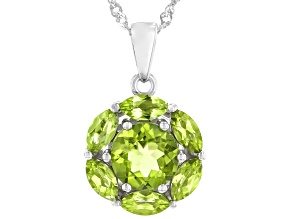 Green Peridot Rhodium Over Sterling Silver Pendant With Chain  3.05ctw