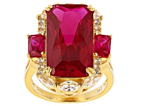 Red Lab Created Ruby 18k Yellow Gold Over Sterling Silver Ring 15.78ctw
