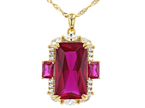 Red Lab Created Ruby 18k Yellow Gold Over Sterling Silver Pendant With Chain 15.78ctw