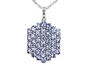 Blue Tanzanite Rhodium Over Sterling Silver Cluster Pendant With Chain 5.66ctw