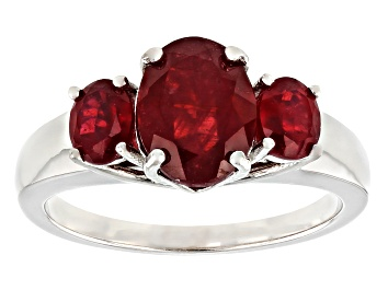 Picture of Red Mahaleo(R) Ruby Rhodium Over Sterling Silver 3-Stone Ring 2.81ctw
