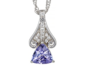 Blue Tanzanite Rhodium Over Sterling Silver Pendant With Chain. 0.94ctw