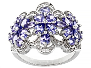 Mixed Shapes Tanzanite and Round White Zircon Accent Rhodium Over Sterling Silver Ring 2.58ctw
