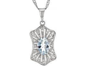 Blue Aquamarine Rhodium Over Sterling Silver Pendant Chain 1.04ctw