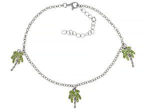 Green Chrome Diopside Rhodium Over Sterling Silver Palm Tree Bracelet 0.48ctw
