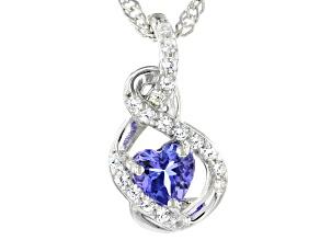 Blue Tanzanite Rhodium Over Silver Pendant With Chain 0.52ctw