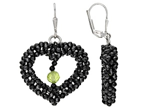 Black Spinel Rhodium Over Sterling Silver Earrings. 2.5ctw