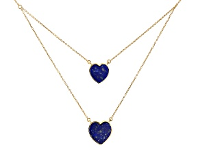 Blue Lapis Lazuli 18k Yellow Gold Over Silver 2 Layer Necklace