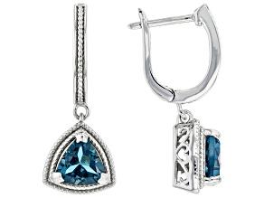 London Blue Topaz Rhodium Over Sterling Silver Earrings 2.00ctw