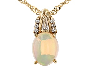 Multi-color Ethiopian Opal 18k Yellow Gold Over Sterling Silver Pendant With Chain 1.09ctw