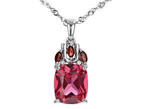 Red Lab Created Padparadscha Sapphire Rhodium Over Sterling Silver Pendant With Chain. 6.63ctw