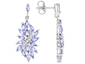 Blue Tanzanite Rhodium Over Sterling Silver Earrings. 4.29ctw