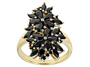 Black Spinel 18K yellow Gold Over Sterling Silver Ring. 3.01ctw