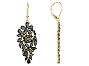 Black Spinel 18K Yellow Gold Over Sterling Silver Earrings. 7.37ctw