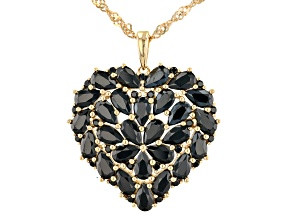 Black Spinel 18K Yellow Gold Over Sterling Silver Pendant with Chain. 4.77ctw