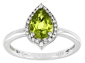Green Peridot Rhodium Over Sterling Silver Halo Ring 1.38ctw