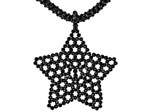 Black Spinel Rhodium Over Sterling Silver Star Necklace.