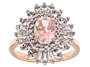 Rose Quartz 18k Rose Gold Over Silver Pendant Chain 1.82ctw
