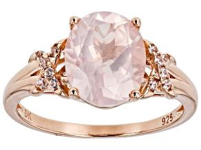 Rose Quartz 18k Rose Gold Over Sterling Silver Ring 0.10ctw