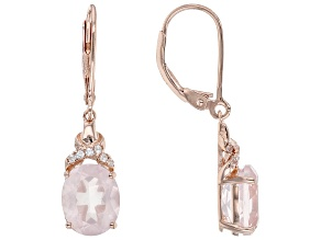 Rose Quartz With Round White Zircon 18k Rose Gold Over Sterling Silver Dangle Earrings 4.03ctw
