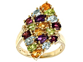 Purple Amethyst 18k Gold Over Sterling Silver Ring 3.13ctw