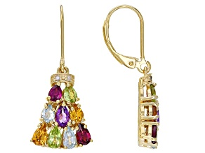 Multi Gemstone 18K Yellow Gold Over Sterling Silver Dangle Earrings 3.06ctw