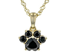 Black Spinel 18K Yellow Gold Over Sterling Silver Paw Print Pendant With Chain 1.12ctw