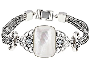 White Mother-Of-Pearl Rhodium Over Sterling Silver Bracelet 0.58ctw