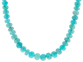 Blue Amazonite Rhodium Over Sterling Silver Beaded Necklace