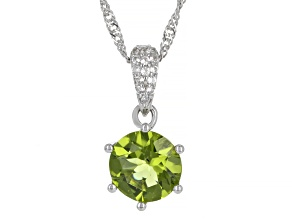 Green Peridot Rhodium Over Sterling Silver Pendant With Chain 2.62ctw