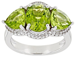 Green Peridot Rhodium Over Sterling Silver Ring 5.23ctw