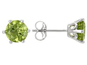 Green Manchurian Peridot ™ Rhodium Over Sterling Silver Stud Earrings. 2.33ctw