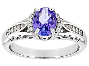 Blue Tanzanite Rhodium Over Sterling Silver Ring. 1.07ctw