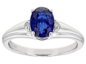 Blue Kyanite Rhodium Over Sterling Silver Ring. 1.36ctw