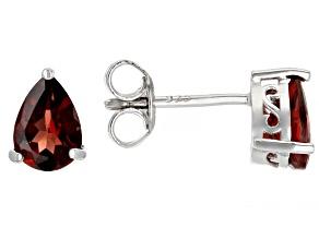 Red Garnet Rhodium Over Sterling Silver Earrings. 1.34ctw