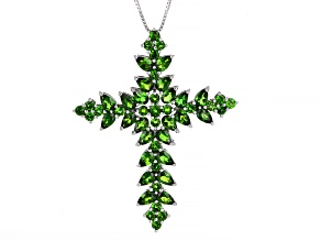 Green Chrome Diopside Rhodium Over Sterling Silver Pendant with Chain. 6.34ctw