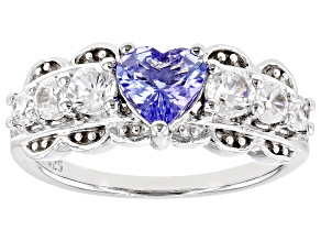 Blue Tanzanite Rhodium Over Sterling Silver Ring. 1.55ctw