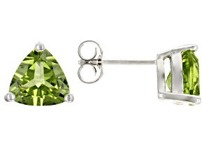 Green Peridot Rhodium Over Sterling Silver Solitaire Stud Earrings