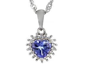 Blue Tanzanite Rhodium Over Silver Pendant With Chain 0.83ctw.