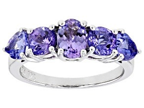 Blue Tanzanite Rhodium Over Sterling Silver Ring 2.48ctw