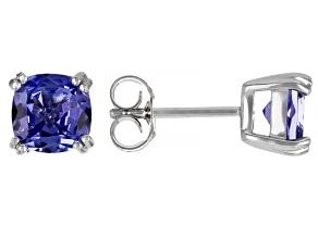 Blue Tanzanite Rhodium Over Sterling Silver Stud Earrings 2.39ctw