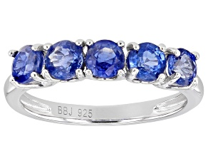 Blue Kyanite Rhodium Over Sterling Silver Ring. 1.53ctw